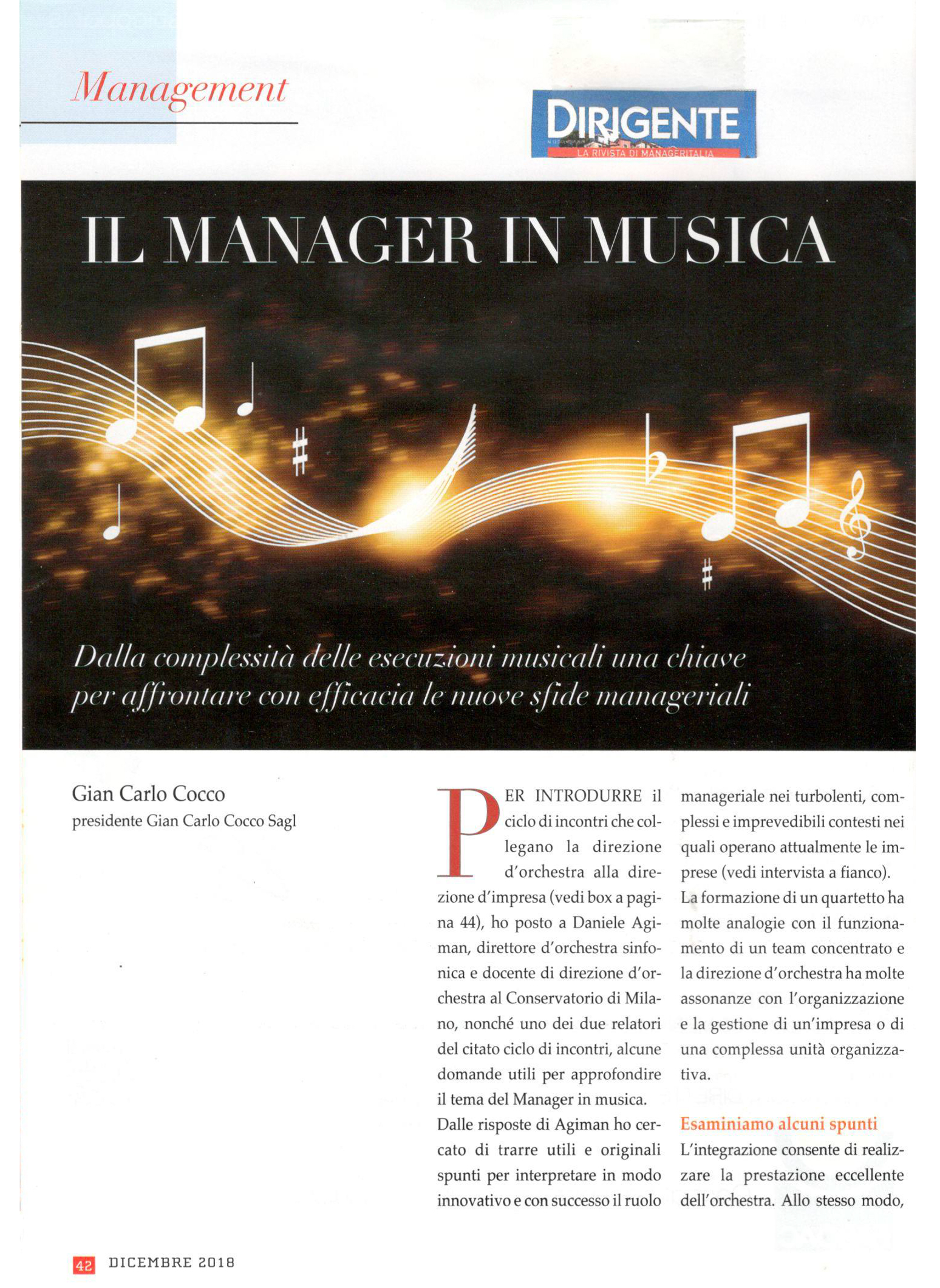 Il Manager in musica